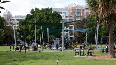 Students from International Grammar School play at Wentworth Park, Ultimo, in Sydney.