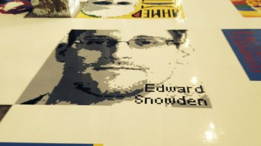 """Former NSA contractor Edward Snowden, who leaked classified information and fled to Russia, is depicted in Legos in Ai Weiwei's exhibition, """"Large""""."""