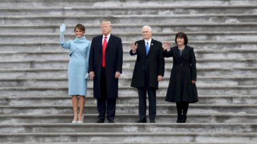 First lady Melania Trump, President Donald Trump, Vice-President Mike Pence and his wife, Karen Pence, farewell the Obamas.