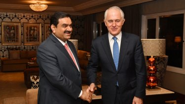 Prime Minister Malcolm Turnbull meets with India's Adani Group founder and chairman Gautam Adani in New Delhi earlier this month.