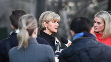 Foreign Minister Julie Bishop speaks to the media after the Barcelona attack earlier this month.