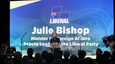 Deputy Liberal leader and foreign minister Julie Bishop addresses the party at the national campaign rally in Sydney on Sunday.