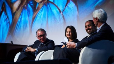 ANZ Bank chairman David Gonski, New York social researcher Patrycja Slawuta, Singularity University futurist Ramez Naam and Innovation Australia chairman Bill Ferris at Creative Innovation 2016 in Melbourne.