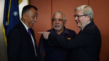 Former Prime Minister Kevin Rudd (right) speaking with journalist Stan Grant (left) and Aboriginal elder Uncle Allen Madden at The National Apology anniversary breakfast at the NSW Parliament House in Sydney.