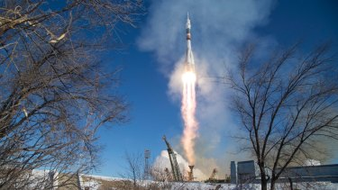 The Soyuz MS-07 rocket is launched with Expedition 54 Soyuz Commander Anton Shkaplerov of Roscosmos, flight engineer Scott Tingle of NASA, and flight engineer Norishige Kanai of Japan Aerospace Exploration Agency (JAXA) in December.