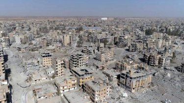 A picture from drone video shot in October  shows damaged buildings in Raqqa, Syria, two days after Syrian Democratic Forces said that military operations to oust the Islamic State group have ended and that their fighters have taken full control of the city.