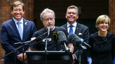 Ridley Scott with Deputy Premier Troy Grant, NSW Industry Minister Anthony Roberts and Foreign Affairs Minister Julie Bishop at Fox Studios. Three <i>Alien</i> movies could be shot in Sydney.