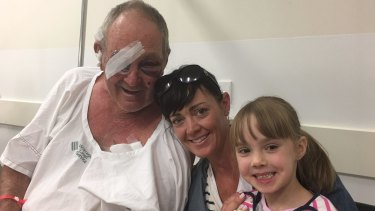Kelvin Tennant at The Alfred hospital with his daughter Natalie and granddaughter Imogene.