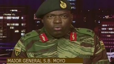 Major General S.B. Moyo, Spokesperson for the Zimbabwe Defense Forces addresses to the nation after taking over the state broadcaster in Harare, Zimbabwe on Wednesday.