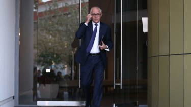 Malcolm Turnbull departs his home for Parliament House in Canberra on Tuesday.