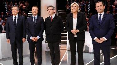 French candidates from left: Francois Fillon, Emmanuel Macron, Jean-Luc Melenchon, Marine Le Pen and Benoit Hamon.