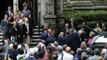 Former prime minister Malcolm Fraser's wife Tamie, children and grandchildren farewell their beloved husband, Dad and Granddad.
