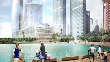 Artist's impression of Crown Resorts' proposed $2 billion casino at Sydney's Barangaroo precinct.