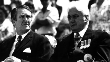 Malcolm Fraser and John Kerr at a service for Remembrance Day in 1976.