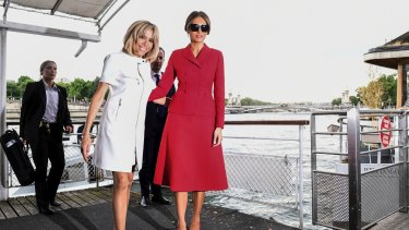 Classy: Melania Trump, right, wearing Dior, with Brigitte Macron, France's first lady, in Paris.