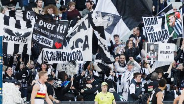 Black and White army: Magpies fans out in support at the MCG.