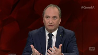 Barnaby Joyce on Monday night's episode of Q&A.