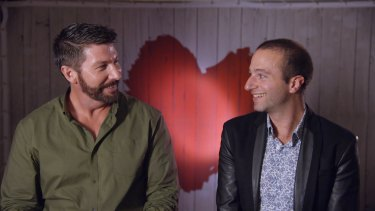 Iain Gardiner (L) and Harry T (R) make TV history on Seven's <i>First Dates</i>.