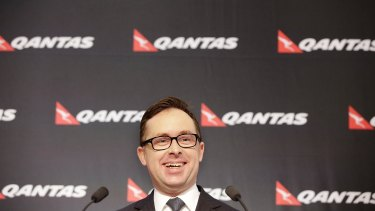 Qantas chief executive Alan Joyce at the half-year results briefing in Sydney on Thursday.