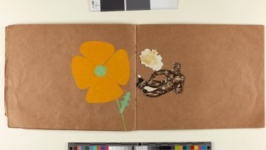 The collage book created by the late artist Margaret Olley in 1929, when she was six years old.