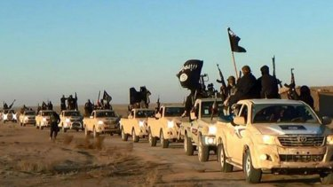 Islamic State jihadists hold up their weapons and wave flags in a convoy near Raqqa city in Syria.