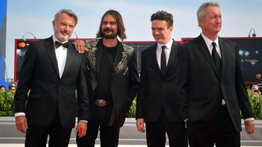Director Warwick Thorn at the world premiere of Sweet Country at the Venice Film Festival with (from left) cast members Sam Neill, Matt Day and Bryan Brown.