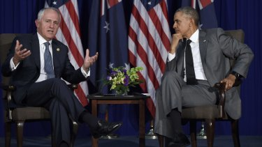 US President Barack Obama and Prime Minister Malcolm Turnbull in Manila on Tuesday. Turnbull says the main obstacle to the TPP being implemented is the US Congress.