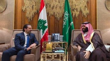 Saudi Crown Prince Mohammed bin Salman, right, meets with Lebanese Prime Minister Saad Hariri in Riyadh, Saudi Arabia on October 30.