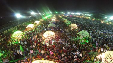 A mass wedding for 151 brides and their relatives and friends in December 2014. A total of 100,000 people attended this event, arranged and paid for by businessman Mahesh Savani.