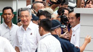 Prime Minister and People's Action Party (PAP) Secretary General Lee Hsien Loong at the nomination centre earlier this month.