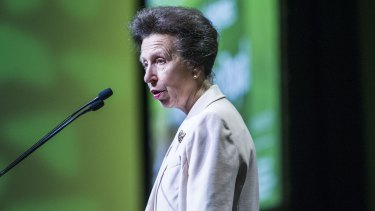 Princess Anne, Princess Royal speaks to the audience at the 26th Commonwealth Agricultural Conference at the Royal International Convention Centre in Brisbane.