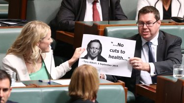Labor MPs pass a prop around during question time.