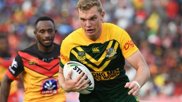 Bolter: Tom Trbojevic stakes his claim for a Kangaroos sport against the Kumuls in Port Moresby.