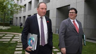 Chief Nationals Whip George Christensen and Deputy Prime Minister and Leader of the Nationals Barnaby Joyce walk to question time at Parliament House in Canberra on Wednesday 9 November 2016. Photo: Andrew Meares for GoodWeekend EMBARGOED FOR GOOD WEEKEND, DEC 3/16 ISSUE.