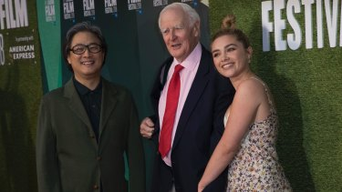 Park Chan-wook (left), John le Carre and Florence Pugh at the premiere for <i>'The Little Drummer Girl</I>.