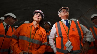 Berejiklian and Prime Minister Malcolm Turnbull watch the first tunnel breakthrough of the NorthConnex project in West Pennant Hills.