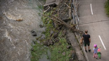 Severe damage and flooding at Merri Creek after Thursday's wild storm.