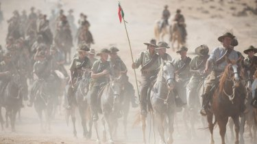 Enthusiasts and descendants of Australian Mounted Division and ANZAC Mounted Division soldiers ride as part of the 100 years anniversary in near Beersheba, Sunday.