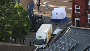 The van that is believed to have been driven into pedestrians near Finsbury Park Mosque.