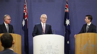 David Gonski with Prime Minister Malcolm Turnbull announcing his Gonski 2.0 education funding.