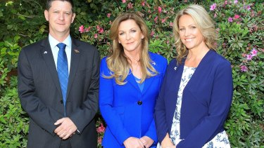From left: Australian Liberty Alliance Senate candidates Bernard Gaynor, Debbie Robinson and Kirralie Smith at the party's launch in 2015.