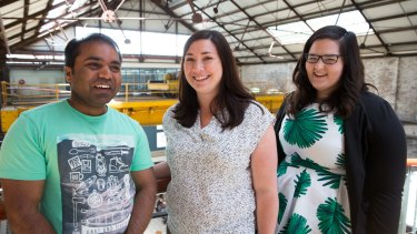 Newcastle University's BiomarX team at the Australian Technology Park (from left): Mohammed Riazuddin, Kirsty Pringle and Sarah Delforce.