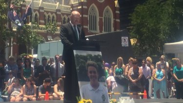 Wally Lewis MCs the memorial for alleged one-punch victim Cole Miller, a week after he died.