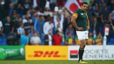 Bok battered: Bryan Habana of South Africa stands dejected following the loss.
