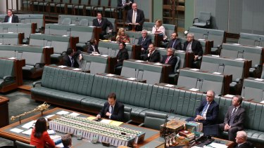 Malcolm Turnbull and Christopher Pyne listen to backbencher Warren Entsch introduce a private member's bill on marriage equality on August 17.