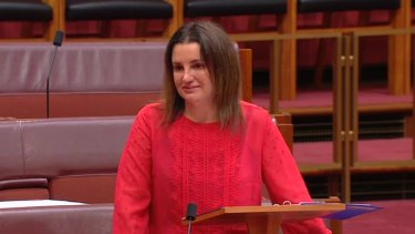 A tearful Jacqui Lambie attacks cuts to welfare in the Senate.