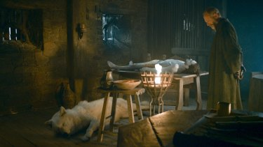 Ghost's last notable appearance was when Jon Snow was resurrected from the dead.
