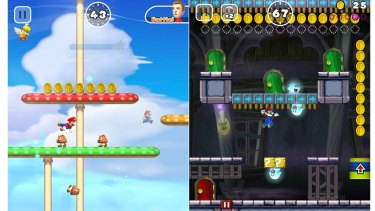 Mario automatically runs, vaults and climbs his way to the end of the course, with players controlling his jumps.