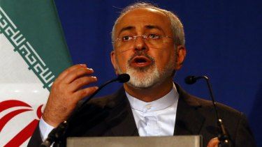 Iran's Foreign Minister Javad Zarif addresses the media after announcing the deal.