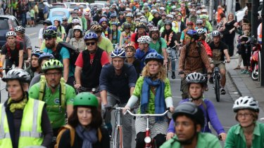 Thousands of cyclists converged on Sydney Road to pay tribute to Alberto Paulon, killed in a tragic dooring incident.
